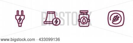 Set Line Electric Plug, Propane Gas Tank, Nuclear Power Plant And Icon. Vector