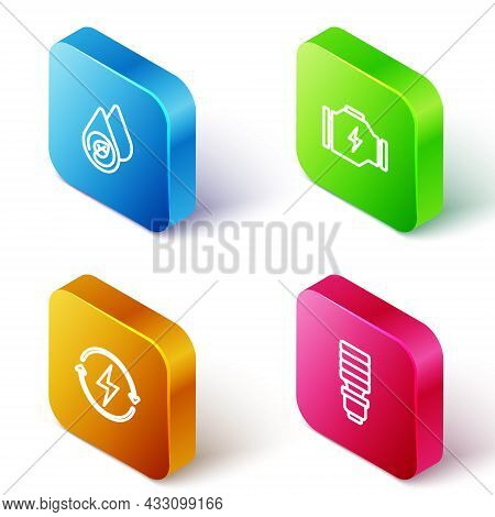 Set Isometric Line Water Energy, Check Engine, Recharging And Led Light Bulb Icon. Vector