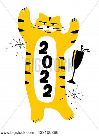 The Tiger Is The Symbol Of 2022 With A Glass Of Champagne And Sparklers. The Concept Of Christmas An