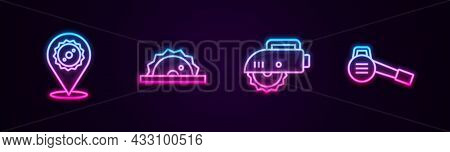 Set Line Circular Saw Blade, Electric Circular, And Leaf Garden Blower. Glowing Neon Icon. Vector