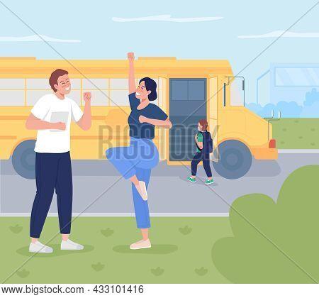 Parent Send Child To School Flat Color Vector Illustration. Happy Young Parents Sending Child To Pre