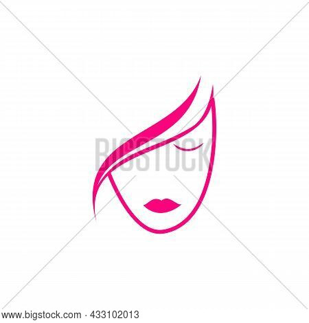 Woman Feminine Face Logo Icon Flat Concept Vector Graphic Design