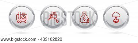 Set Line Drop In Crude Oil Price, Shutdown Of Factory, Money Bag And Storm. Silver Circle Button. Ve