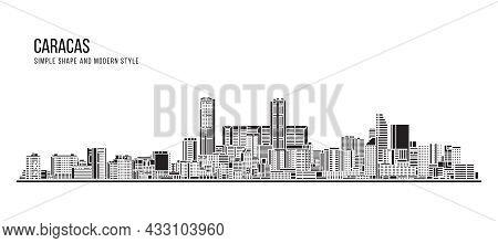 Cityscape Building Abstract Simple Shape And Modern Style Art Vector Design - Caracas City