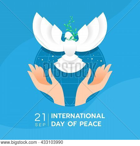 International Day Of Peace - Hands Are Letting Front View The Dove Of Peace To Fly On Blue Circle Wo