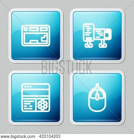 Set Line Keyboard, Computer Monitor Screen, Debugging And Mouse Icon. Vector