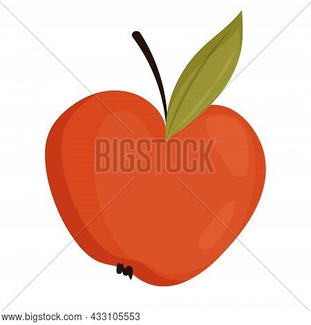 Red Apple With Green Leaves Isolated On White Background. Apple With Raisins.red Apple With Green Le
