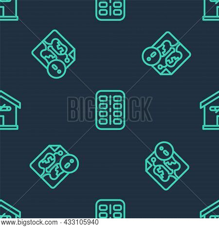 Set Line Nicotine Gum In Blister Pack, Disease Lungs And No Smoking At Home On Seamless Pattern. Vec