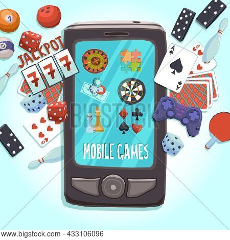 Mobile Phone Games Concept With Casino Bowling Ping-pong Dice Domino Joystick Darts And Puzzle Vecto
