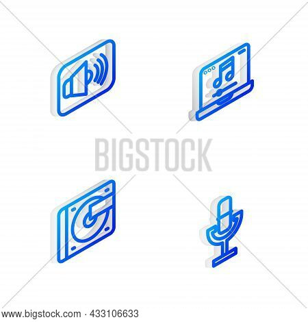 Set Isometric Line Laptop With Music, Speaker Volume, Vinyl Player Vinyl Disk And Microphone Icon. V
