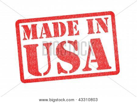 MADE IN USA Rubber Stamp over a white background. poster