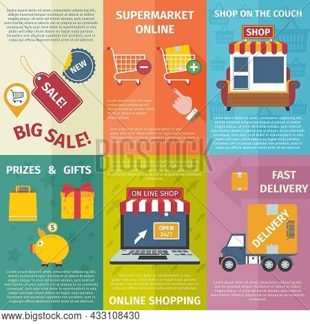 Shopping Online With Delivery And Gifts Mini Posters Set Flat Isolated Vector Illustration