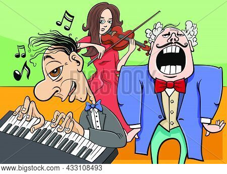 Cartoon Illustration Of Comic Musicians Band Playing A Concert