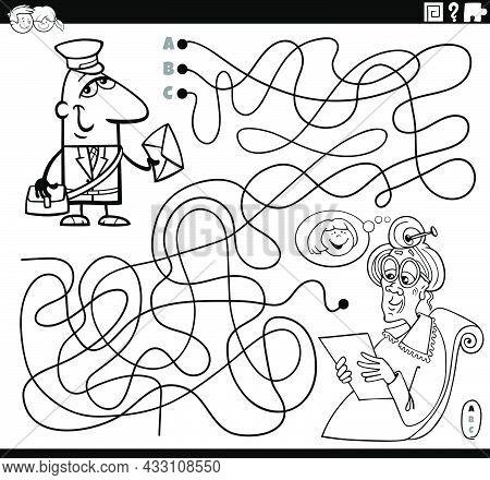 Black And White Cartoon Illustration Of Lines Maze Puzzle Game With Postman Character And Senior Wom