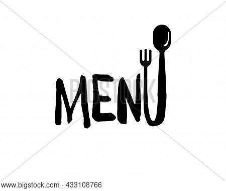 Menu Word Design Concept With Letter U Transition From Fork To Spoon. Vector Graphic Hand-drawn Symb