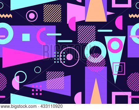 Memphis Seamless Pattern. Geometric Elements Memphis In The Style Of 80's. Composition Of Triangles,