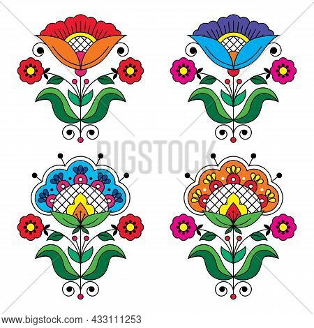 Swedish Floral Folk Art Vector Colorful Design Set With Flowers, Leaves And Swirls Inspired By Tradi