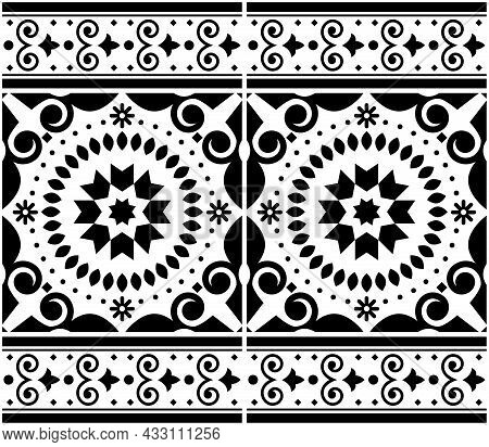Azulejo Tile Seamless Vector Pattern Lisbon Style, Traditional Textile, Fabric Print Design Inpired