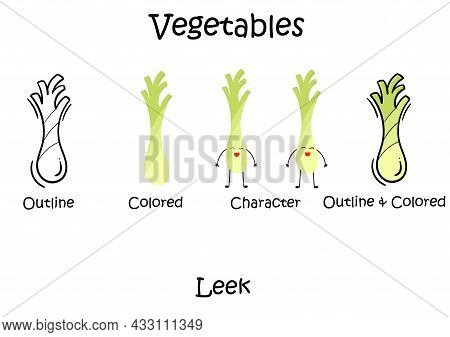 A Collection Of Leek Vegetable Illustrations With Outline Design Type, Color Without Outline, Charac