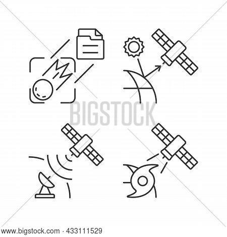 Climate Monitoring Satellites Linear Icons Set. Meteorological Earth Observation System. Customizabl