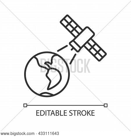 Earth Observation Process Linear Icon. Terrestial Surface Investigation By Artifial Satelite. Thin L