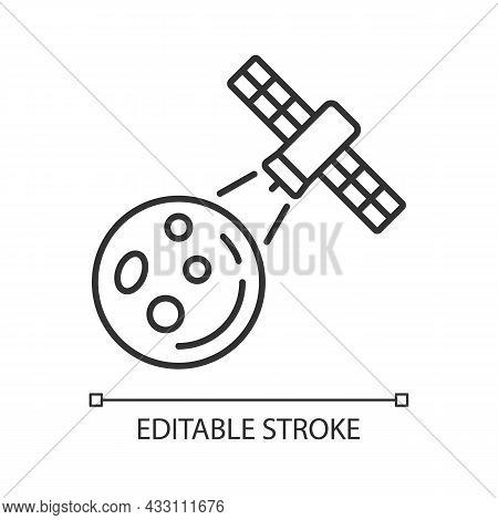 Moon Observation Process Linear Icon. Lunar Surface Research Mission By Artifial Satelite. Thin Line