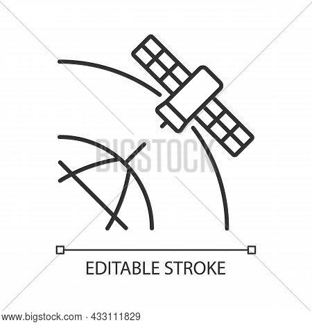 Polar Satellite Linear Icon. Artifial Satelite Investigating Pole Surface, Magnetosphere. Thin Line