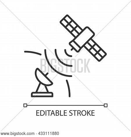 Satellite Signal Linear Icon. Telecommunications Network. Signal Receiving Dish Satelite. Thin Line