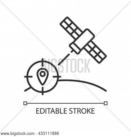 Navigation Satellite Linear Icon. Satellite-based Radionavigation System. Gps Positioning. Thin Line