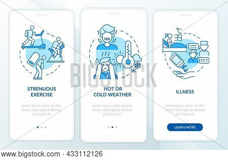 Increased Fluid Consumption Blue Onboarding Mobile App Page Screen. Rehydration Walkthrough 3 Steps