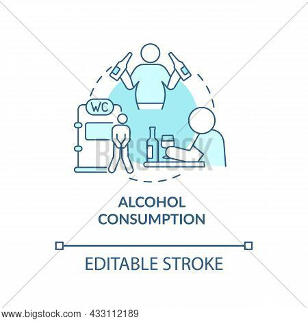 Alcohol Consumption Blue Concept Icon. Spirits Consumption Leads To Water Loss. Intoxication Consequ
