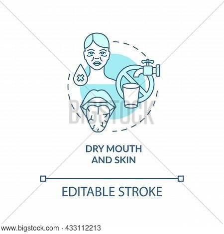 Dry Mouth And Skin Blue Concept Icon. Dehydration Symptom. Saliva Deficiency. Body Fluid Loss Abstra