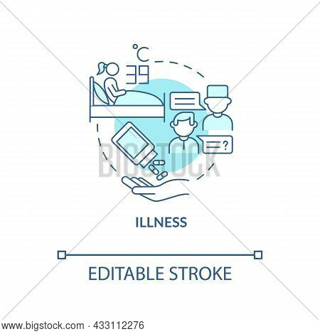 Illness Blue Concept Icon. Extra Water Consumption Is Required. Infection And Flu Dehydration. Rehyd