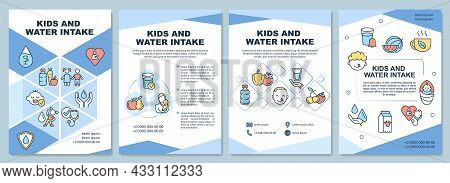 Kids And Water Intake Brochure Template. Water Amount For Children. Flyer, Booklet, Leaflet Print, C