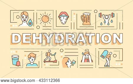 Dehydration Word Concepts Banner. Water Loss Symptom And Prevention. Infographics With Linear Icons