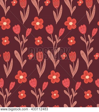Seamless Pattern With Simple Flowers With Folk Decorations On Burgundy Background. Naive Texture Wit