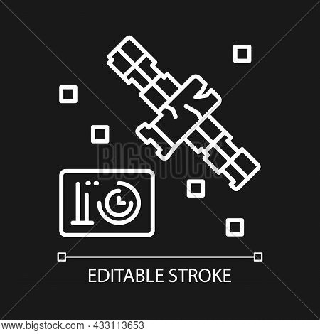 Satellite Condition White Linear Icon For Dark Theme. Satellite Status Information. Thin Line Custom