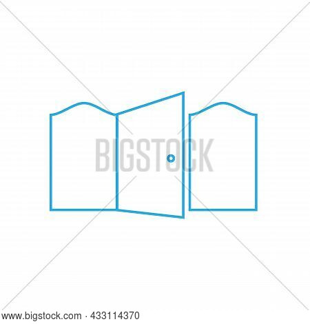 Open Door Door On A White Background And Two Parts On The Sides
