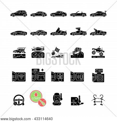 Auto Racing Black Glyph Icons Set On White Space. Driving Sports Cars. Innovative Tech Features. Adv