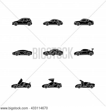 Sports Car Models Black Glyph Icons Set On White Space. Non-standard Door Designs. High-speed Drivin
