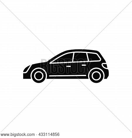 Hatchback Black Glyph Icon. Cheap Sports Car. Auto With Two-box Design. Access To Cargo Area. Vehicl