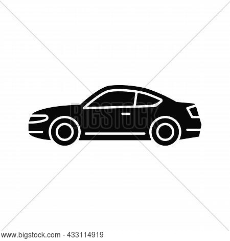 Coupe Car Black Glyph Icon. Two-door Sports Automobile. Performance-oriented Vehicle. Fixed Roof. Pa