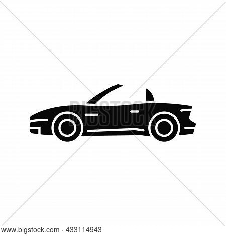 Convertible Car Black Glyph Icon. Cabriolet With Retractable Roof. Open Top Car Driving Experience.