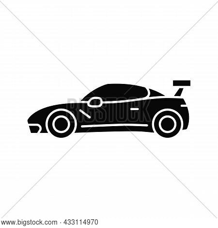 Customized Sports Car Black Glyph Icon. Designing Vehicle For Street Racing. Upgrading Automobile Pe