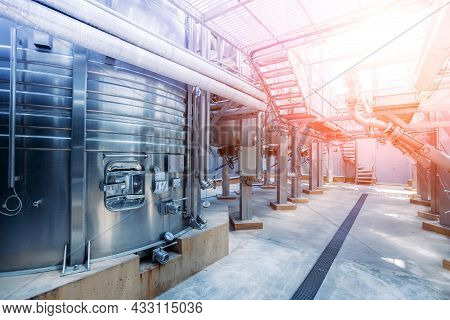 Modern Winery Production Line. Large Tanks For Fermentation