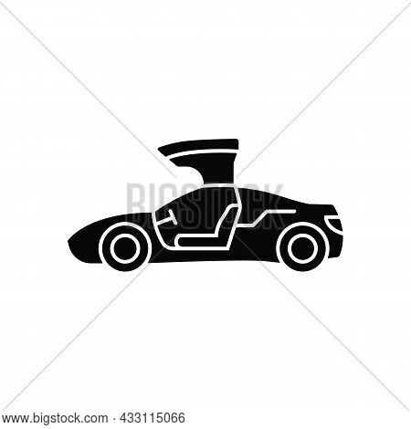 Gullwing-doored Vehicle Black Glyph Icon. Automobile With Falconwing Doors Opening Upward. Stylish S