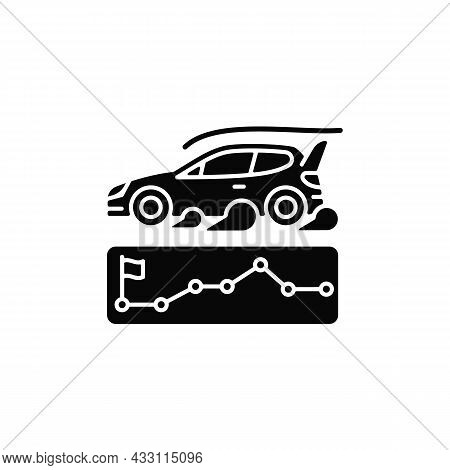 Rallying Event Black Glyph Icon. Motor Sport Competition. Point-to-point Format. Challenge For Car P