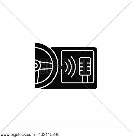 In-car Voice Control Black Glyph Icon. Digital Voice Assistant. Advanced Self-driving Feature. Contr