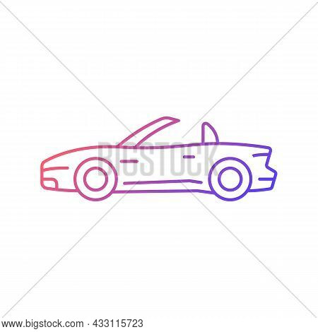 Convertible Car Gradient Linear Vector Icon. Cabriolet With Retractable Roof. Open Top Car Driving E