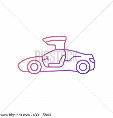 Gullwing-doored Vehicle Gradient Linear Vector Icon. Automobile With Falconwing Doors Opening Upward